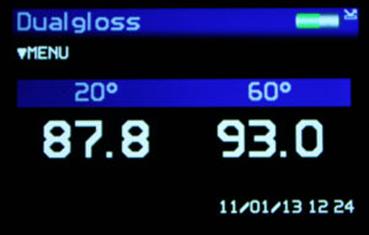 Màn hình của máy đo độ bóng 2 góc 20/60 của hãng Rhopoint