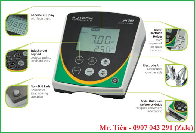 Máy đo độ pH nước, hóa chất phòng thí nghiệm pH 700 Eutech Instruments