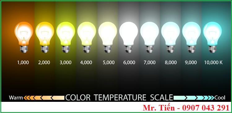 Nhiệt độ màu của bóng đèn so màu